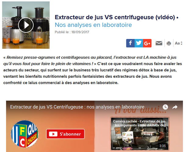 D cryptage article quechoisir extracteur de jus vs - Centrifugeuse et extracteur de jus ...